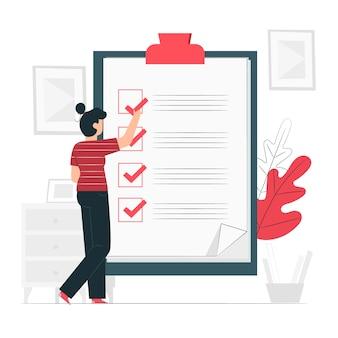 Ilustración del concepto de lista de verificación