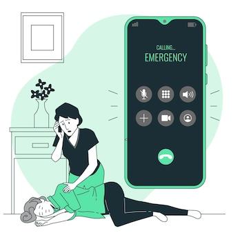 Ilustración del concepto de llamada de emergencia
