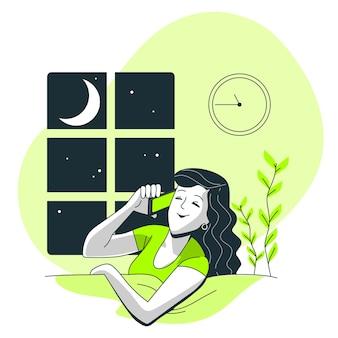 Ilustración del concepto de llamadas nocturnas