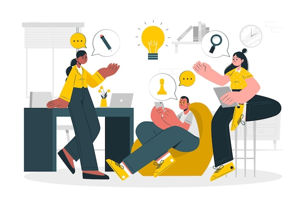 Ilustración del concepto de lluvia de ideas