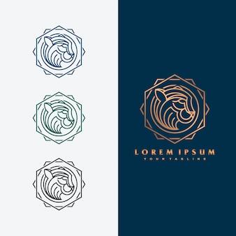 Ilustración de concepto de logotipo de tigre de lujo.