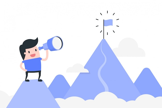 Ilustración de concepto de logro de meta.