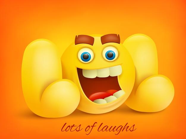 Ilustración de concepto de lol con carácter emoji amarillo.