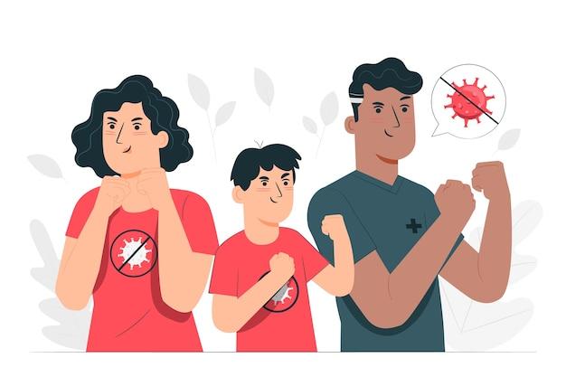 Ilustración del concepto de lucha contra el coronavirus