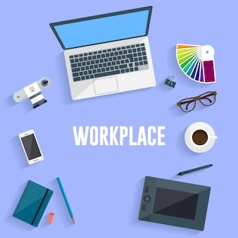 Ilustración del concepto de lugar de trabajo. diseño plano.