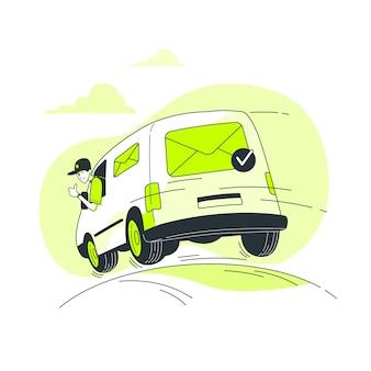 Ilustración del concepto de mail enviado