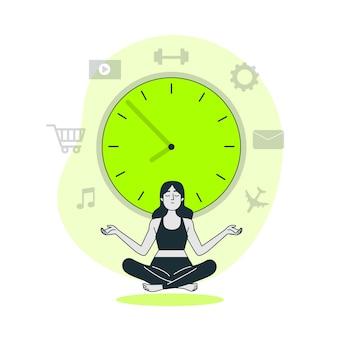 Ilustración del concepto de manejo del tiempo