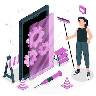Ilustración de concepto de mantenimiento de teléfono