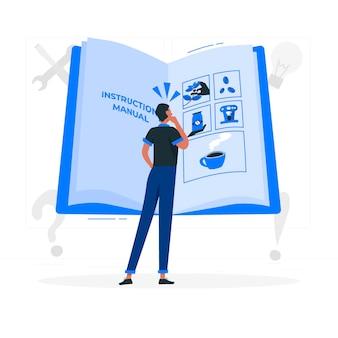 Ilustración del concepto de manual de instrucciones