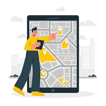 Ilustración del concepto de mapa móvil