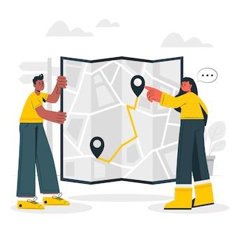 Ilustración del concepto de mapa de papel