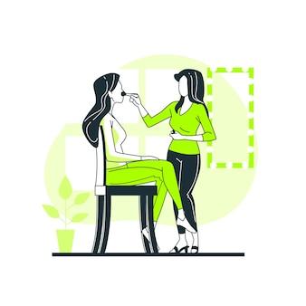 Ilustración del concepto de maquilladora