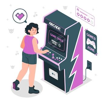 Ilustración de concepto de máquina arcade