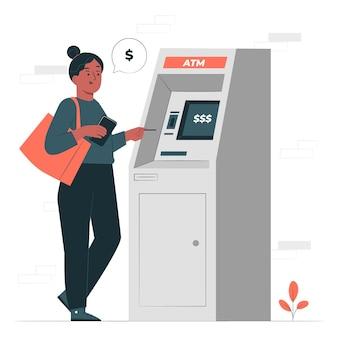 Ilustración de concepto de máquina de cajero automático