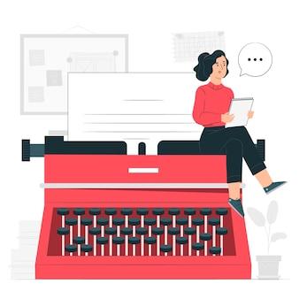 Ilustración del concepto de máquina de escribir