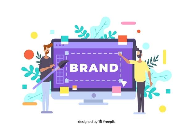 Ilustración del concepto de marca para la página de inicio