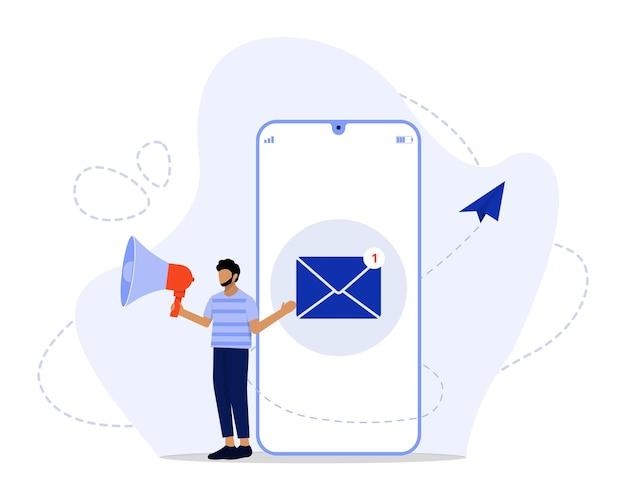 Ilustración de concepto de marketing por correo electrónico