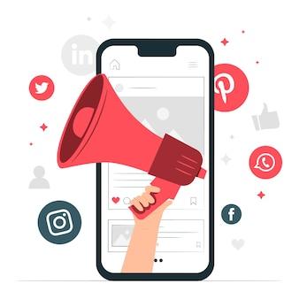 Ilustración del concepto de marketing móvil