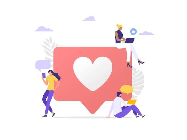 Ilustración del concepto de marketing en redes sociales, mujer feliz y hombres dan como comentario