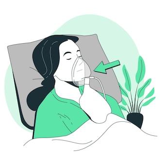 Ilustración de concepto de máscara de oxígeno