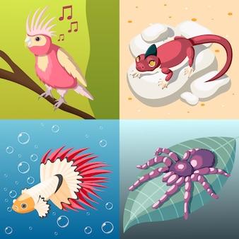 Ilustración de concepto de mascotas exóticas