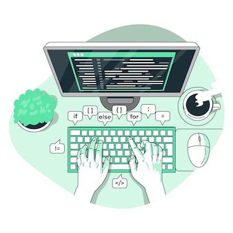Ilustración del concepto de mecanografía de código
