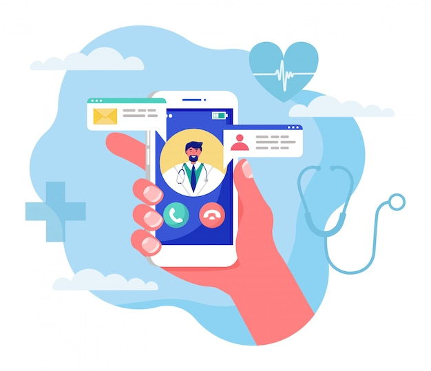 Ilustración del concepto de medicina en línea, mano humana de dibujos animados con smartphone con videollamada al médico en blanco