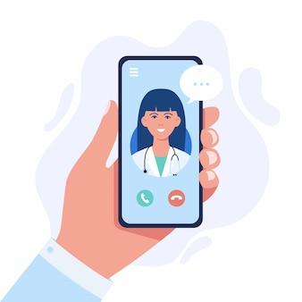 Ilustración de concepto de medicina en línea. mano humana plana de dibujos animados que sostiene el teléfono inteligente con videollamada al personaje del médico en la pantalla, utilizando la aplicación de servicio de asesoramiento o consulta móvil aislada en blanco