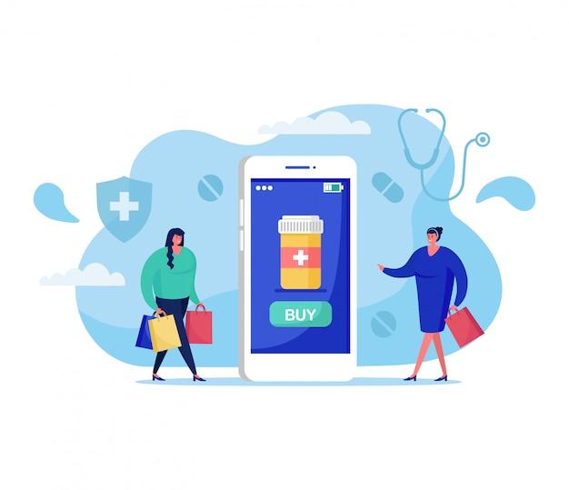 Ilustración del concepto de medicina en línea, personajes de dibujos animados mujer comprando píldoras en la aplicación de farmacia virtual en blanco
