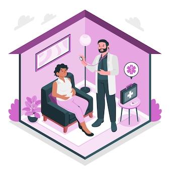 Ilustración de concepto de médico en casa