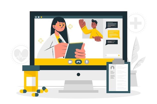 Ilustración del concepto de médico en línea
