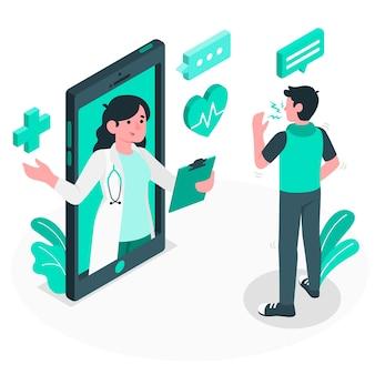 Ilustración del concepto de médico online