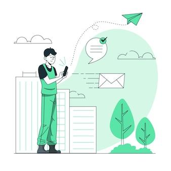 Ilustración de concepto de mensaje enviado