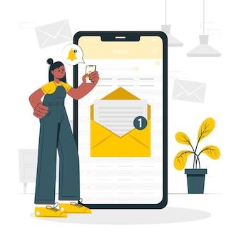 Ilustración del concepto de mensaje nuevo