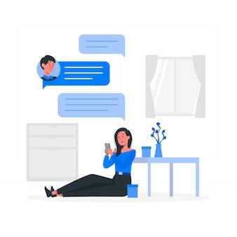 Ilustración del concepto de mensajería