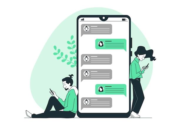 Ilustración del concepto de mensajes de texto