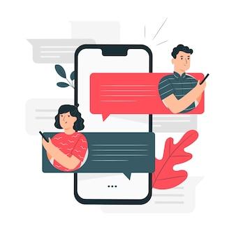 Ilustración de concepto de mensajes
