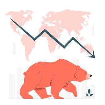 Ilustración de concepto de mercado bajista