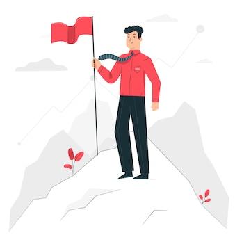 Ilustración del concepto de meta