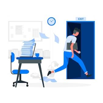 Ilustración del concepto del momento de abandonar