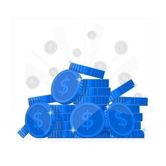 Ilustración del concepto de monedas
