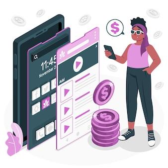 Ilustración del concepto de monetización de la aplicación