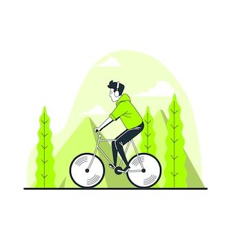 Ilustración del concepto de montar en bicicleta