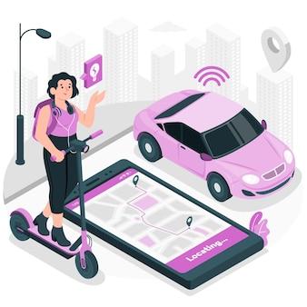 Ilustración del concepto de movilidad inteligente