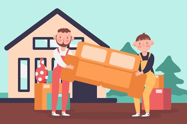Ilustración de concepto de mudanza de casa