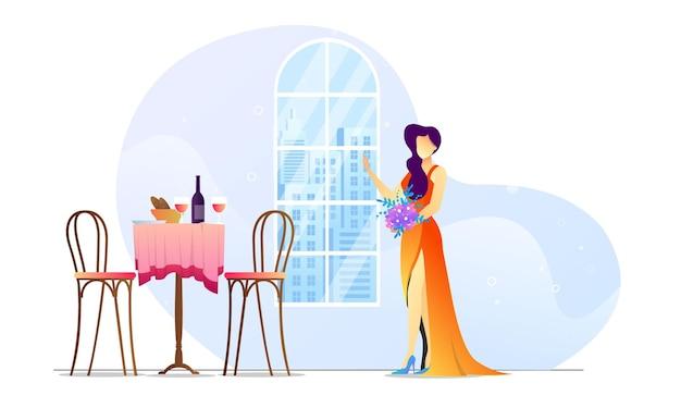 Ilustración de concepto mujer en plantilla creativa vestido de fiesta