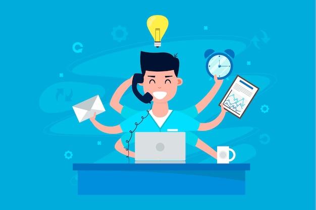 Ilustración del concepto de multitarea