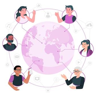 Ilustración del concepto de mundo conectado