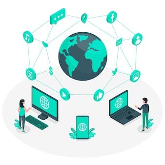 Ilustración del concepto del mundo online