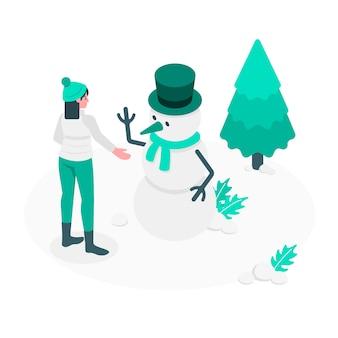 Ilustración de concepto de muñeco de nieve